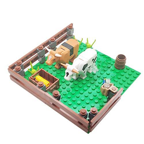 HYZM Granja de aves de corral con placas de construcción, bloques de construcción de paisaje bosque con animales, árboles y figuras, juguete de construcción compatible con Lego