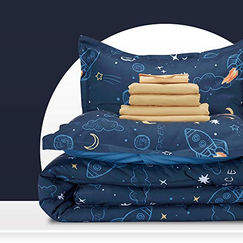 SLEEP ZONE Kids Bed-in-a-Bag Bedding Set Easy-Care Microfiber Ultra Soft Comforter and Sheet Sets with Shams 7 Pieces Space Rocket for Boys, Blue, Full/Queen