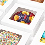Durable, Grease Resistant Bakery Box 10x10x2.5 25 Pack with Clear Window. Fancy 10inch Square Pastry Container for Gifts. Sturdy, Disposable Windowed Boxes for Pies, Cookies, Cupcakes or Strawberries