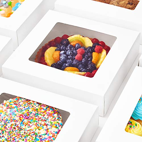 Super Elegant, Pro-Style 10in Bakery Box 100 Pk. Grease-Resistant 10x10x2.5 White Pastry Boxes with Window. Perfect for Desserts, Cakes, Cookies, Pies, Donuts. Great Gift Idea for Cute Homemade Treat