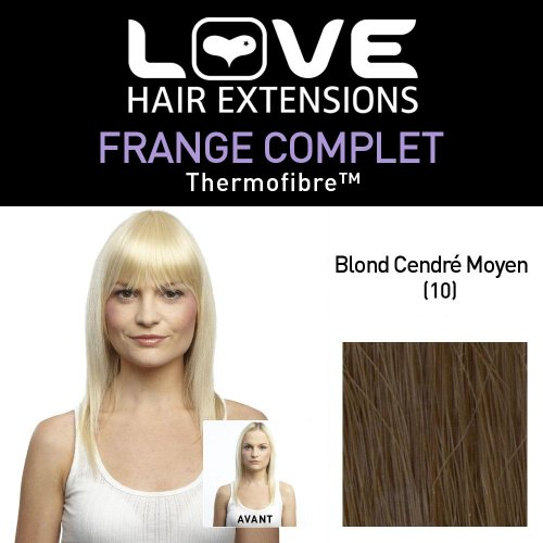 Love Hair Extensions - LHE/FRK1/QFC/CIF/10 - Thermofibre™ - Clip-In Frange Complet - Couleur 10 - Medium Ash Brown