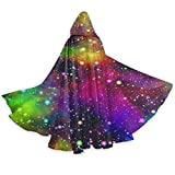 WAWEHOY Universe Nebula Galaxy with Rainbow Halloween Wizard Witch Hooded Robe Cloak Christmas Hoodies Cape Cosplay for Adult Men Women