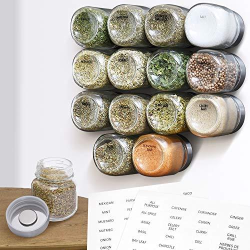 [15 Pack] Large 4oz Magnetic Spice Jars - Glass - Fridge Mounted Spice Jars - Spice Rack – Stylish Spice Storage