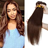 Tissage Bresilien Cheveux Naturel Cheveux Humain Lisse #04 Marron Chocolat Meches Rajout Extension Sans Clips - 18 Pouce/45cm
