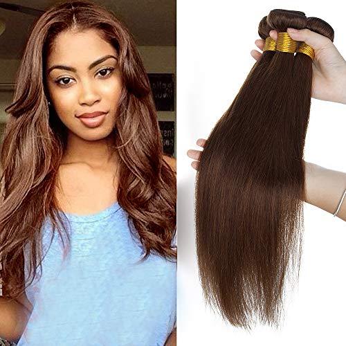 Tissage Extension Cheveux Naturel Vrai Cheveux Humain Lisse - Meches Rajout Cheveux Sans Clips (#04 Marron Chocolat, 40cm-100g)