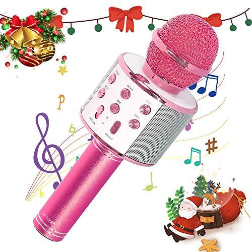SaponinTree Bluetooth Karaoke Mikrofon, Drahtlose Karaoke Mikrofon Kinder mit Bluetooth Lautsprecher für Sprach- und Gesangsaufnahmen, für Smartphones und PC, Zuhause, Partys (Rosa)