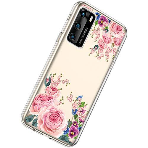 Herbests Kompatibel mit Huawei P40 Hülle Silikon Weich TPU Handyhülle Durchsichtige Schutzhülle Niedlich Muster Transparent Ultradünn Kristall Klar Handyhülle,Rot Rose