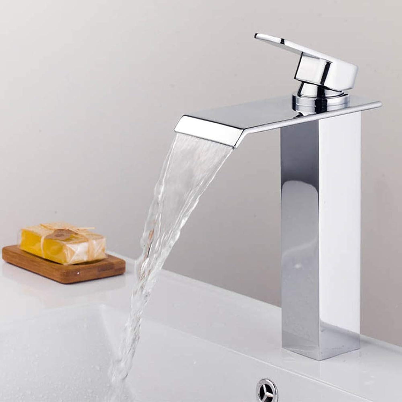 ZHUAPP Bad Wasserhahn Kupfer Quadrat Kalt Hei Wasserfall Waschbecken Wasserhahn Einhand Einlochmontage über Aufsatzbecken Wasserfall Wasserhahn