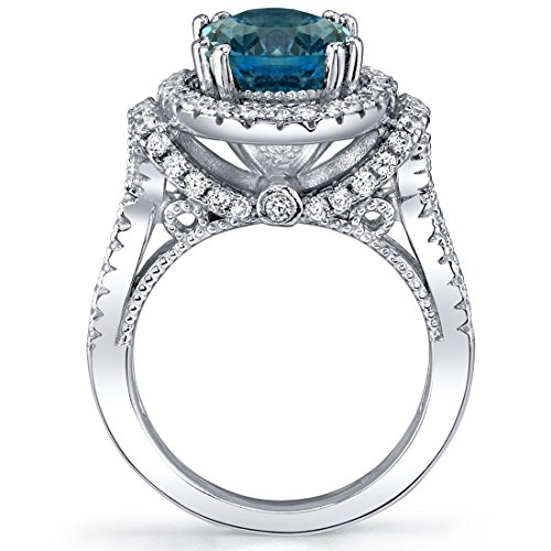 London Blue Topaz Gallery Ring Sterling Silver Oval Shape 3.25 Carats Sizes 5 to 9