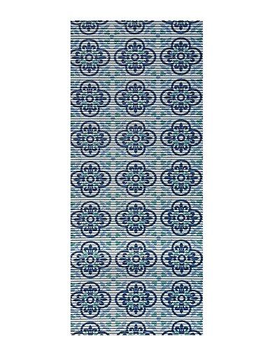 All Design Mats Cushioned Non-Slip/Rubber Runner/Doormat, Medallion Trellis Design, Blue