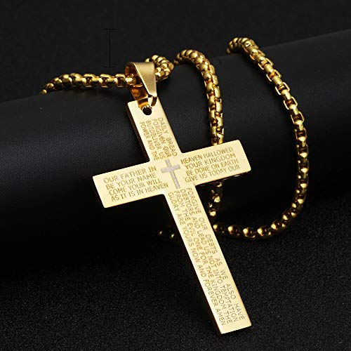 JINKEBIN Collares de cruz retro cristiano Jesús Escritura Acero Inoxidable Oro Negro Oración Gargantilla Cruz Colgante Collar para Mujeres Hombres (Longitud: 60 cm, Color del metal: Oro)