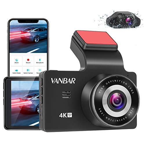"""VANBAR Dual Dash Cam 4K & 2.5K Front and Rear Car Dash Camera Built-in WiFi, 3"""" LCD Display with 170° Wide Angle, Night Vision, 24H Parking Monitor, G-Sensor, Loop Recording, Support 256GB Max"""