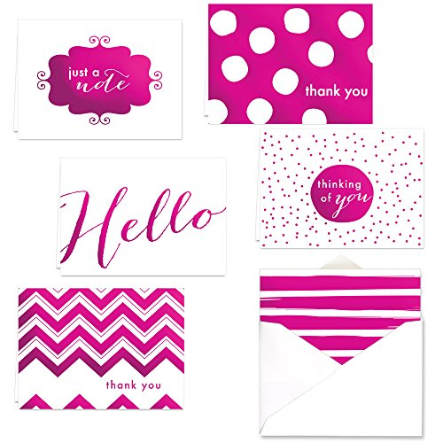 Pink Foil All Occasion Note Card Assortment Pack - Set of 24 cards - 4 designs, blank inside - with white envelopes