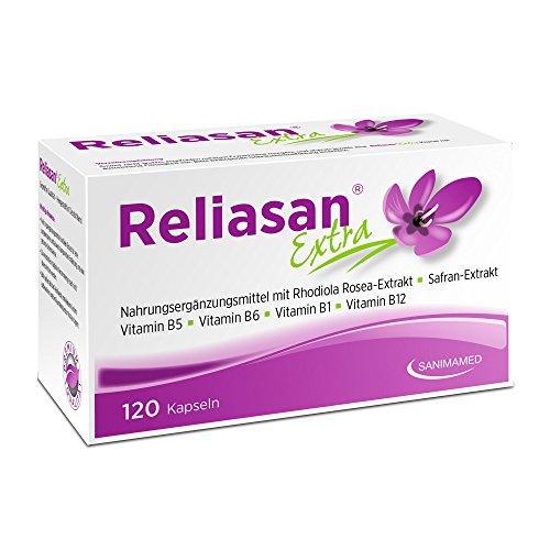 RELIASAN Extra Wechseljahre Kapseln I Hochdosiert aus Rosenwurz (Rhodiola Rosea) und Safran I Bei Stimmungsschwankungen I Vegan & Hergestellt in Deutschland (120 Kapseln)