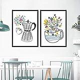 Kaffeemaschine Und Kaffeetasse Poster Druck Leinwand Malerei Küche Wandkunst Illustration Nordischen Stil Wohnkultur 70x90cm-2pcs Rahmenlos