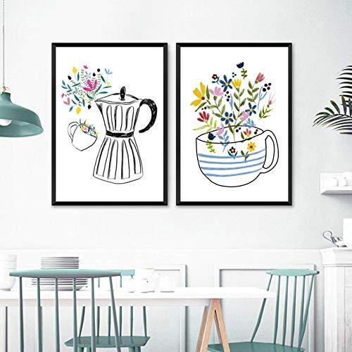 """Obraz na płótnie kuchnia ekspres do kawy i filiżanka kawy dekoracje ścienne rysunek wydruki ilustracji plakaty skandynawskie wystrój 27,5""""x 39,3"""" (70x100 cm) 2 szt. Bezramowe"""