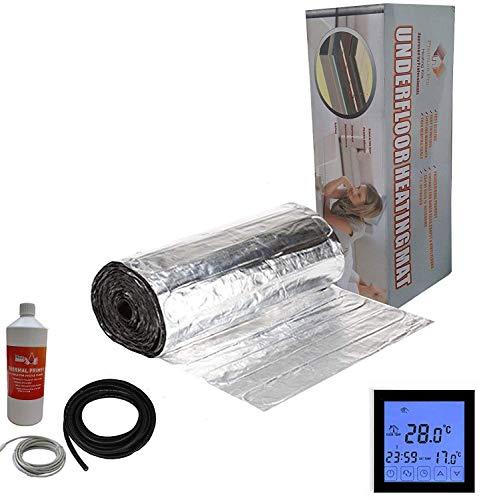 Nassboards Premium Pro 2.0m/² Kit de Tapis de Chauffage Au Sol /Électrique Boite Jaune de 150 W Thermostat Blanc Avec /Écran Tactile
