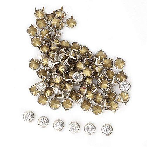 Remaches de diamantes de imitación 100pcs Remaches rápidos de cristal Spots Studs Cap Leather Craft DIY Nailhead Punk Spikes Remaches para ropa Bolsa Zapatos Decoración