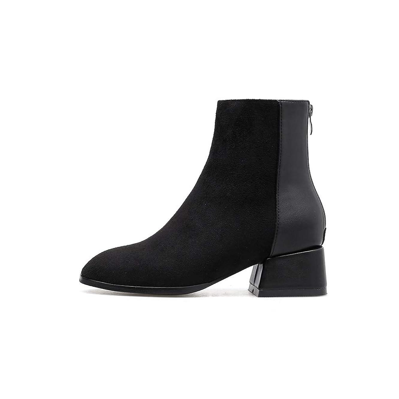 一般的に言えば輝く潜む[QIFENGDIANZI]レディースショートブーツ ショートブーツ 太ヒール ハイヒール 靴 防寒 滑り止め 疲れない 大きいサイズ 歩きやすい 足が細く見える 美脚 おしゃれ パーティ 通勤 デート 22.5 23.0