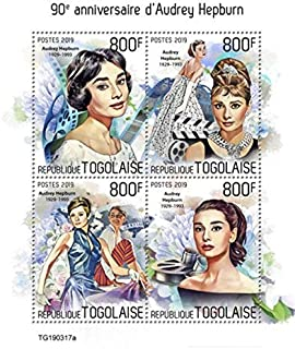 Togo - 2019 British Actress Audrey Hepburn - 4 Stamp Sheet - TG190317a