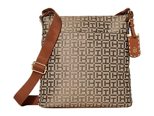 Tommy Hilfiger Julianne 1.5 - North/South Crossbody - Square Messenger Jacquard Tan/Dark Chocolate 1 One Size