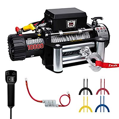 ZEAK 10000lb. Advanced Electric Power Winch, 12V DC Waterproof, for Jeep Truck Off Road Auto Wire Cable, Galvanized
