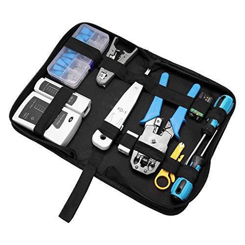 Leeofty Paquete de equipo de red de hardware Juego de combinación de abrazadera de cable Herramientas de mantenimiento del hogar Herramienta de combinación de cables Alicates para engarzar Kit de