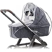 Zamboo Universal Rain Cover for Pram Carrycot (e.g. Hauck, Joie, ABC-Design etc.) | Air Circulating, Water Resistant and Durable Baby Protection Rain Shield (PVC-Free) - Grey