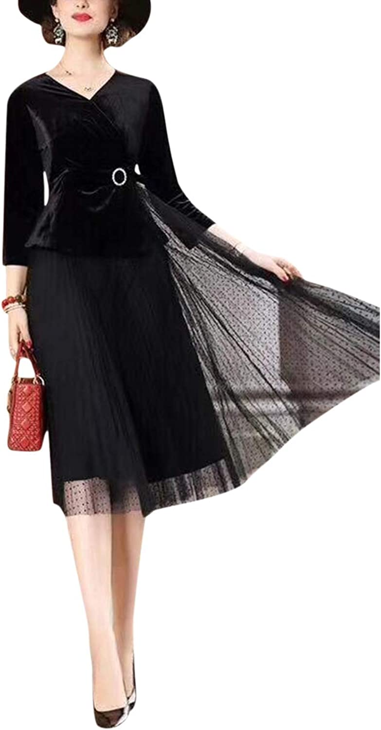 Alsjigytrmx Mesh Patchwork V Neck 3 4 Sleeve Aline Women Elegant Vintage Sexy Flared Dress