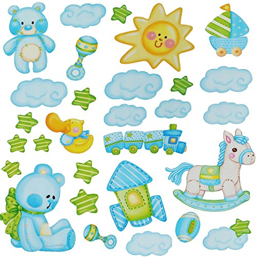 alles-meine.de GmbH 29 TLG. Set Wandtattoo / Fensterbilder -  Schaukelpferd & Teddybär - Babyspielzeug  - für Baby´s selbstklebend - Baby blau Teddy Eisenbahn Wandsticker - Zug..