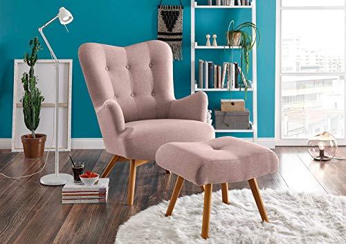 lifestyle4living Sessel in rosafarbenem Webstoff, inkl. Hocker   Der perfekte Sessel für entspannte, Lange Fernseh- und Leseabende. Abschalten und genießen!