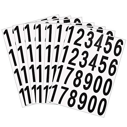 CYSJ 20 Fogli Numeri Adesivi Autoadesivi Adesivi Indirizzo Porta Casa Decalcomanie Autoadesive con Numeri in Vinile (Nero su bianco, 2 Pollice)