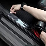 Universal Door Entry Guards Scratch Cover Protector Paint Threshold Guard,Carbon Fiber Rubber Car Bumper Door Guard/Rear Bumper Guard Scratch Protection Strip for Most Cars 100% Waterproof (1.96 Inch)