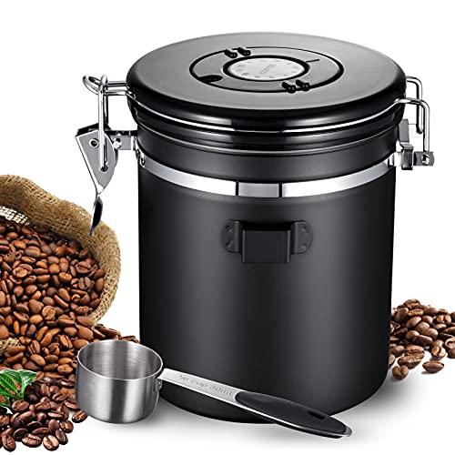 Lavvio Kaffeedose, 1500ml versiegelte Kaffeedose luftdicht, Kaffeedosen mit 30ml Messlöffel, Geruchsdichter Kaffeebohnen behälter, es kann Kaffeebohnen, getrockneten Tee und Nüsse enthalten(Schwarz)