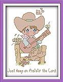 Cross Stitch Embroidery Starter Kit, WOWDECOR Boy Guitar Praise Jesus 11CT Stamped DIY DMC Needlework Easy Beginners