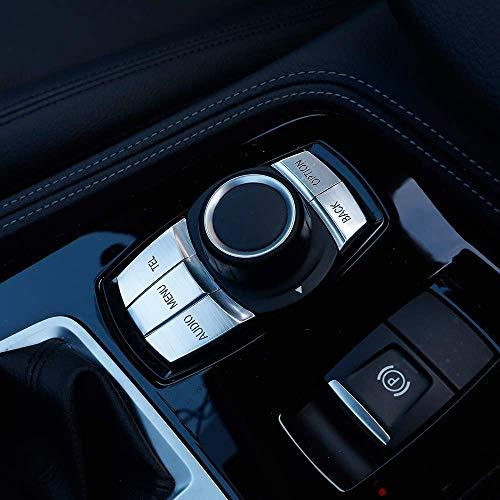 Voiture Multimédia Bouton Couvrir Bouton Cadre Cadre Garniture Décoration pour 1 2 3 Série F30 GT F34 4 Série F32 F33 F36 X1 F48 X3 F25, Argent