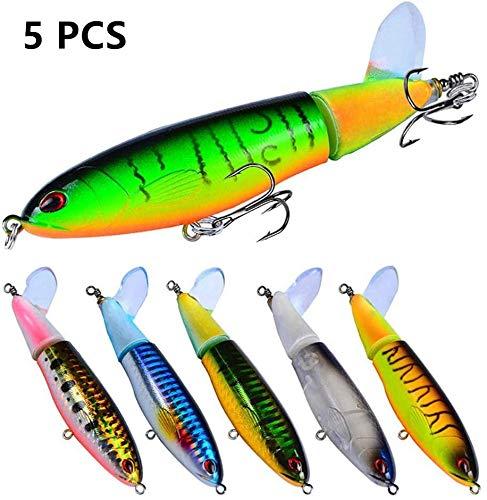 Fishing Lure Whopper plopper avec Floating Rotating Tail Bait leurres d'eau de mer leurres pour Carp Bass Pike- avec Box