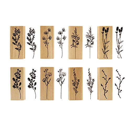 Dizdkizd 8 Pieces Wood Mounted Rubber Stamps, Plant and Flower Decorative Wooden Rubber Stamp Set for DIY Craft, Diary and Craft Scrapbooking