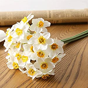 TRRT Fake Plants Artificial Flowers Bouquet, Daffodil White Silk Fake Flowers for Wedding Home Decoration Accessories Faux Flowers Fake Flower