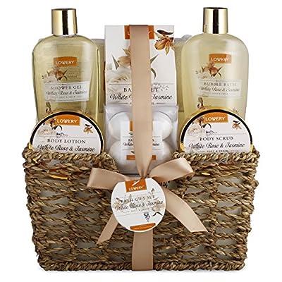 Mother Day Spa Gift Basket - White Rose & Jasmine - Luxury 11 Piece Bath & Body Set For Men & Women, Contains Shower Gel, Bubble Bath, Body Lotion, Body Scrub, Bath Salt, 4 Bath Bombs, Loofah & Basket