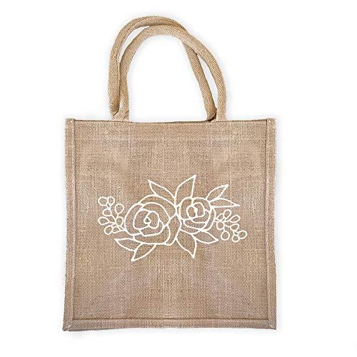 (Pack of 6) Floral Burlap Tote Bags Reusable Jute Bags with Full Gusset