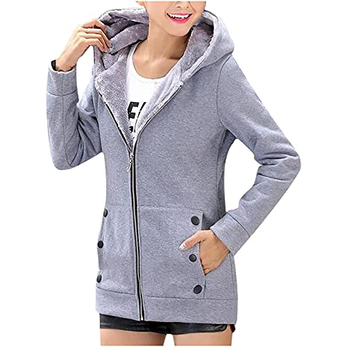 Tops for Women Faux Fur Hoodie Jacket Zipper Up Coat with Pockets Long Sleeve Outwear Slim Fit Basic Solid Color Tops Gray