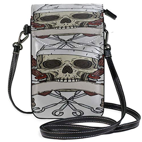 AEMAPE Leather Crossbody Phone Purse Cartoon Skull Toque Knife Print Crossbody Purse Small Mens Purse Crossbody Purse Wallet Travel Passport Bag Handbags For Women