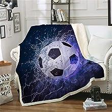 WONGS BEDDING Manta Deportiva Estampada de fútbol Soccer, Ropa de Cama, impresión Digital, 100% Fibra, Terciopelo de Cristal en el Lado A, Terciopelo de Lana Blanca en el Lado B, 150 × 200 cm