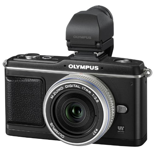 Olympus Pen E-P2 Systemkamera (12,3 Megapixel, 7,6 cm Display, Bildstabilisator) Kit inkl. 17mm Pancake Objektiv und EVF Sucher schwarz