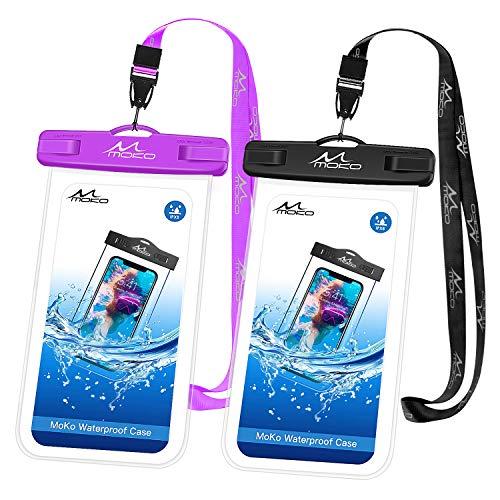 MoKo Bolsa Impermeable para Teléfono, [2 PZS] Estancas Flotante Funda Universal con Correa para iPhone 12,12 Mini,12 Pro, iPhone 11, 11 Pro,11 Pro MAX,Pixel 4XL,Samsung Galaxy S9/S21 - Negro+Morado