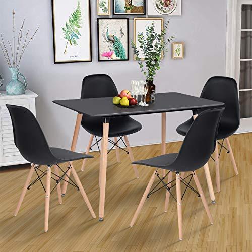 Yata Home Mesa de Comedor Rectangular de 4 a 6 Personas Mesa de Comedor escandinava de Madera Minimalista Patas Redondas de Madera Negro 110 x 70 cm