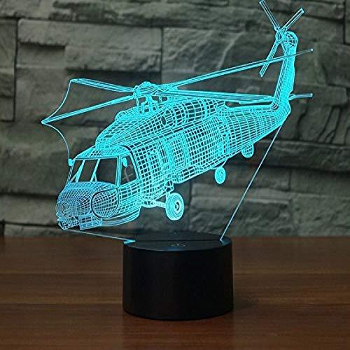 KangYD Modelo de helicóptero de artillería de luz nocturna 3D, lámpara de ilusión LED, E - Base para despertador (7 colores), Regalo para niña, Lámpara de escritorio, Decoración del bar