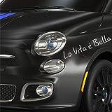 Autodomy Pegatinas La Vita e Bella La Vida es Bella Pack 2 Unidades 33 x 5 cm para Coche o Moto. (Blanco)