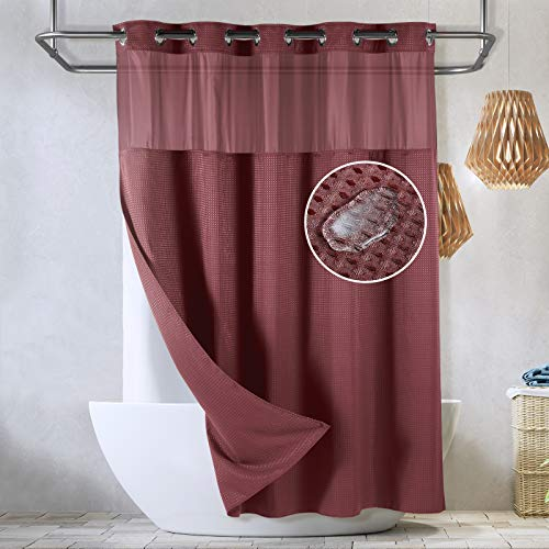 Lagute SnapHook Waffle Weave Fabric Hook Free Shower Curtain with Snap-in Liner, Heavy Duty Bath Curtain with See Through Top, Hotel Grade, Water Repellent, Machine Washable, 71Wx78L, Wine Red